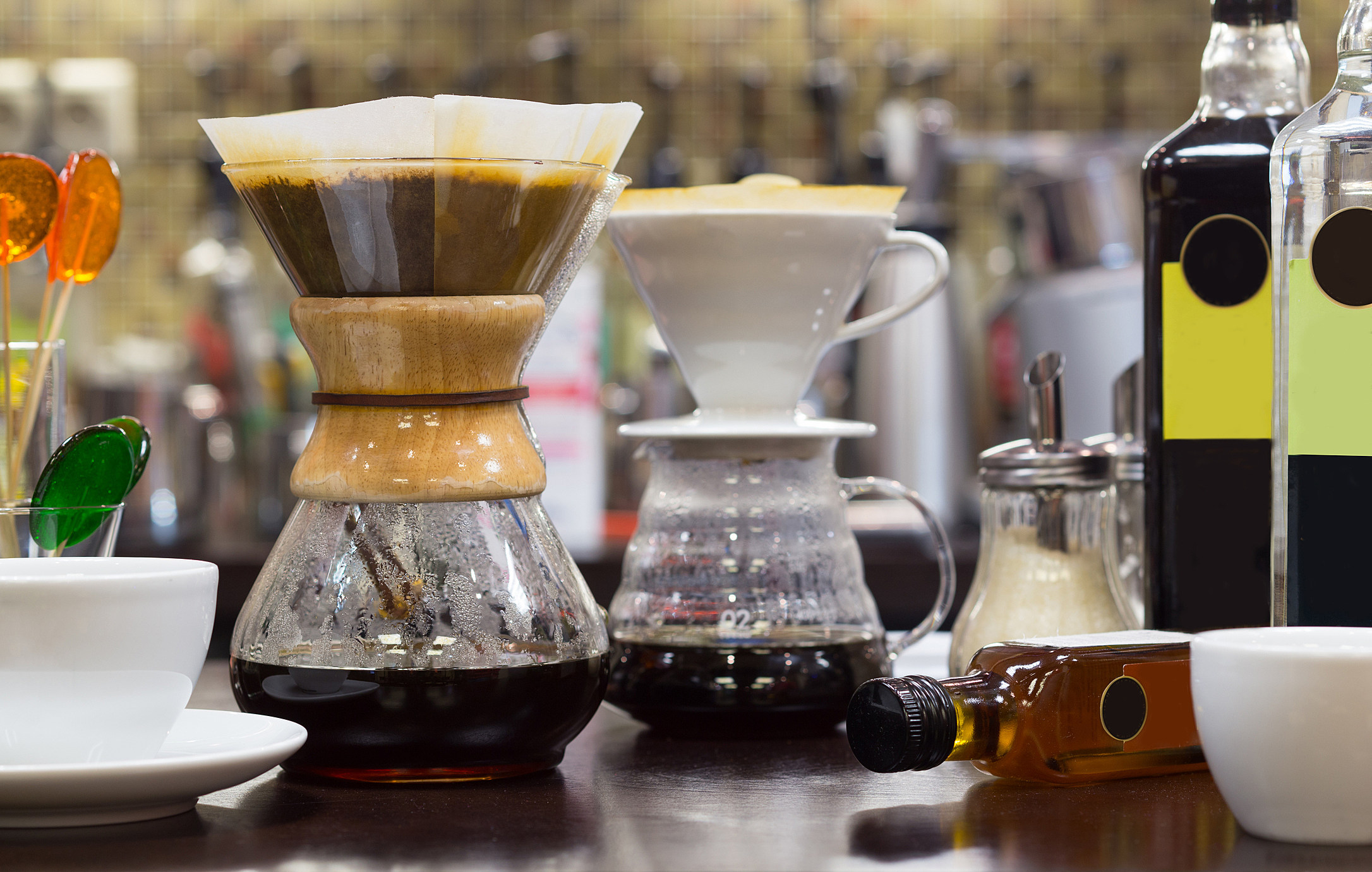 Brew coffee pour-over and chemex